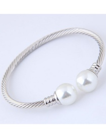 Fashion Silver Color Pearls Decorated Opening Bracelet