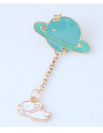 Trendy White+blue Rabbit&hat Decorated Simple Brooch
