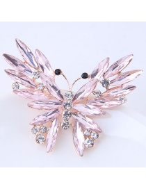 Elegant Pink Butterfly Shape Decorated Brooch