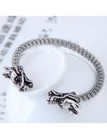 Fashion Silver Color Dragon Shape Decorated Opening Bracelet