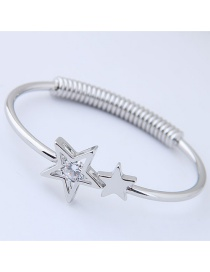 Fashion Silver Color Star Shape Decorated Opening Bracelet