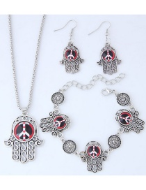Fashion Red+silver Color Hand Shape Decorated Jewelry Set