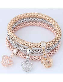 Fashion Silver Color+gold Color+rose Gold Crown Shape Decorated Bracelet (3 Pcs)