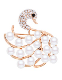 Fashion Gold Color+white Swan Shape Decorated Brooch