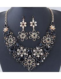 Elegant Black Flower Shape Design Hollow Out Jewelry Sets