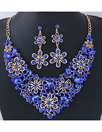 Elegant Sapphire Blue Flower Shape Design Hollow Out Jewelry Sets