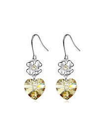 Fashion Yellow Heart Shape Decorated Earrings