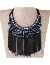 Vintage Black Tassel Decorated Necklace
