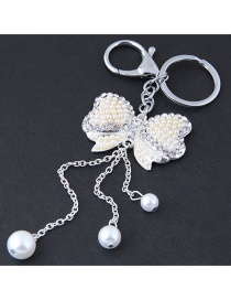 Fashion Silver Color Bowknot Shape Decorated Keychain