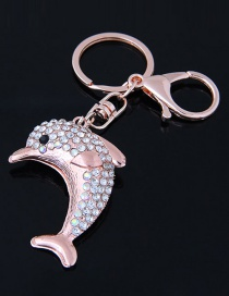 Fashion Gold Color Dolphin Shape Decorated Keychain