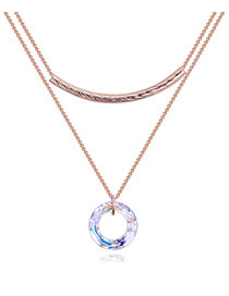 Fashion Rose Gold Circular Ring Decorated Double Layer Necklace