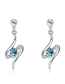 Fashion Blue Heart Shape Diamond Decorated Earrings