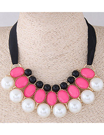 Fashion Pink+white Pearls Decorated Multi-layer Necklace