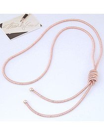 Fashion Rose Gold Pure Color Decorated Knot Design Necklace