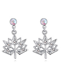 Fashion White Maple Leaves Shape Design Simple Earrings
