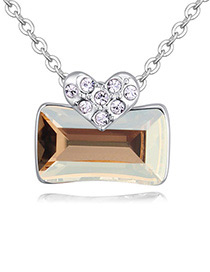 Fashion Gold Color Square Shape Pendant Decorated Necklace