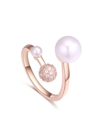 Elegant Gold Color Round Shape Decorated Open Rings