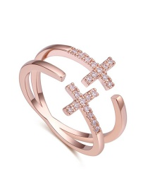 Fashion Gold Color Cross Shape Decorated Rings