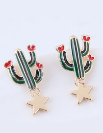 Lovely Green Cactus Shape Decorated Earrings