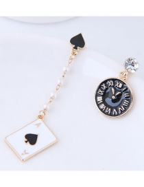 Fashion Black Clock Shape Decorated Earrings