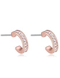 Fashion Rose Gold Diamond Decorated Earrings