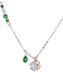 Elegant Silver Color+green Clover Shape Decorated Necklace