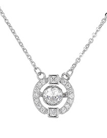 Elegant Silver Color Diamond Decorated Necklace