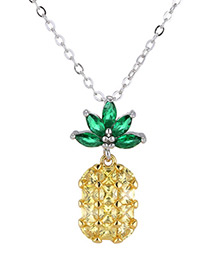 Elegant Yellow+green Pineapple Shape Decorated Necklace