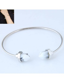 Fashion Silver Color+white Pure Color Decorated Bracelet