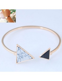 Fashion White+black Triangle Shape Decorated Bracelet