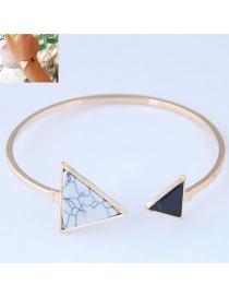 Fashion White+black Triangle Shape Decorated Bracelet