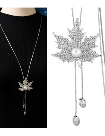 Fashion Silver Color Maple Leaves Pendant Decorated Necklace