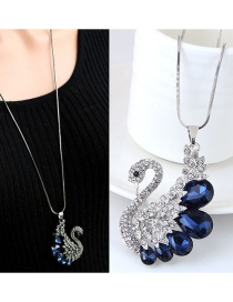 Fashion Dark Blue Peacock Pendant Decorated Long Necklace