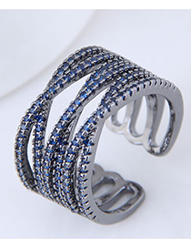 Fashion Blue Multi-layer Shape Decorated Opening Ring