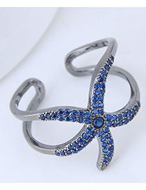 Fashion Blue Starfish Shape Decorated Opening Ring