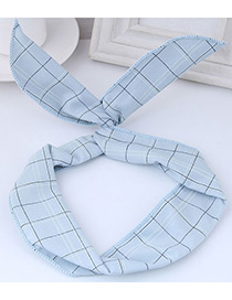 Fashion Light Blue Square Shape Pattern Decorated Hair Band