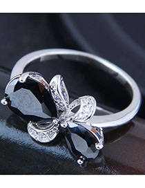 Fashion Black Bowknot Shape Decorated Ring