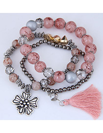 Fashion Pink Tassel Shape Decorated Multilayer Bracelet