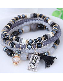 Fashion Black Square Shape Decorated Multilayer Bracelet