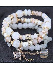 Fashion White Star Shape Decorated Multilayer Bracelet
