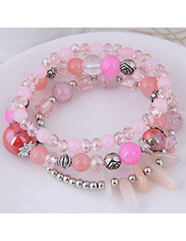 Fashion Pink Round Shape Decorated Multilayer Bracelet