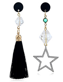 Fashion Black Star Shape Decorated Tassel Earrings