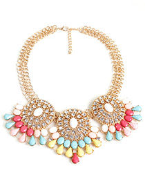 Trendy Multi-color Geometric Shape Gemstone Decorated Necklace