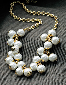 Trendy White Pearls Decorated Simple Necklace