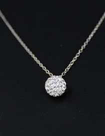 Trendy White Round Ball Pendant Decorated Necklace