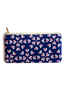 Fashion Pink+sapphire Blue Heart Pattern Decorated Cosmetic Bag