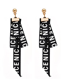 Fashion Black Letter Pattern Decorated Earrings