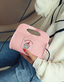 Fashion Pink Ice Cream Pattern Decorated Shoulder Bag