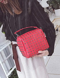 Fashion Red Rivet Decorated Shoulder Bag