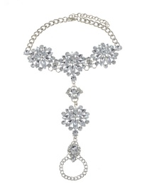 Fashion Silver Color Flower Shape Decorated Anklet